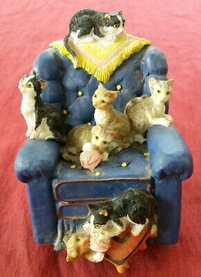 Ornamental Cat Collectable - 7 Very Cute Cats on an Armchair