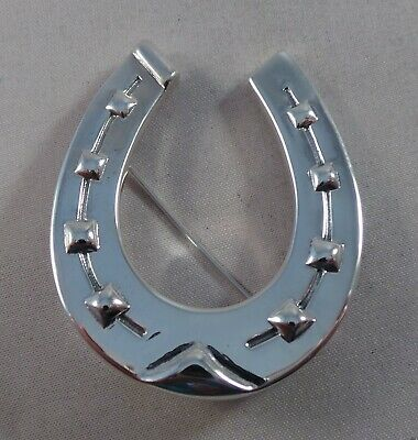 Large Sterling Silver Lucky Horseshoe Pin / Badge / Brooch / Pendant