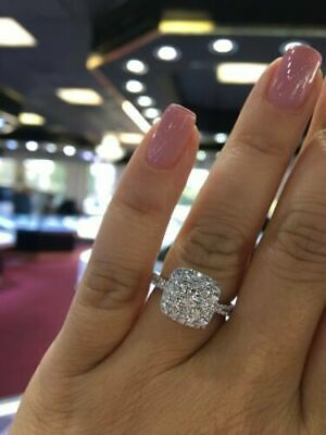 552563809 2 Ct Round Cut VVS1 Diamond Cluster Halo Engagement Ring 14K White Gold Over