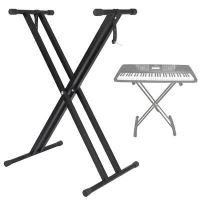 Black Metal Keyboard Piano X-Style Stand Holder Electric Organ Rack Adjustable