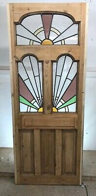 Edwardian Stained Glass Front Door Old Period Reclaimed Wood Antique Lead Pine 1