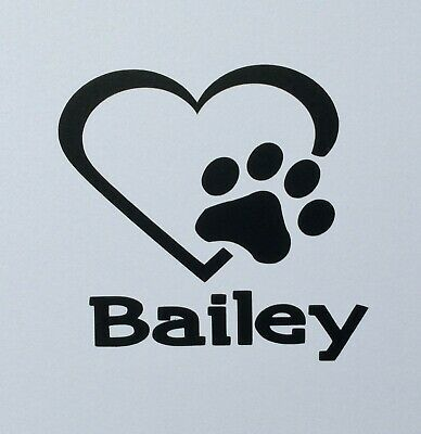 Paw Print In Heart 2 Personalized Vinyl Decals, Stickers, Signs Dog/Cat Pet Name