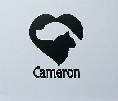 Dog & Cat In Heart 2 Personalized Vinyl Decals, Stickers, Signs Dog/Cat Pet Name