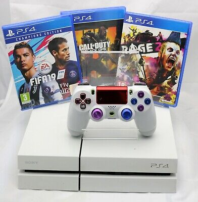 Sony PlayStation 4 500GB White + Rage 2, Black Ops 4 & FIFA 19 - PS4 Bundle