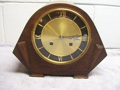 Vintage Wooden wind up Mantel Shelf Clock with chime Art Deco W/key