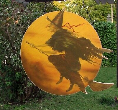 Primitive Vtg Style Halloween Witch Moon Arrow Hanger Replacement Sign AS IS