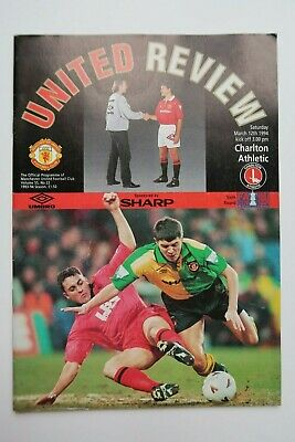 Manchester United V Charlton Athletic Football Programme 1994 Fa Cup 6Th Rd