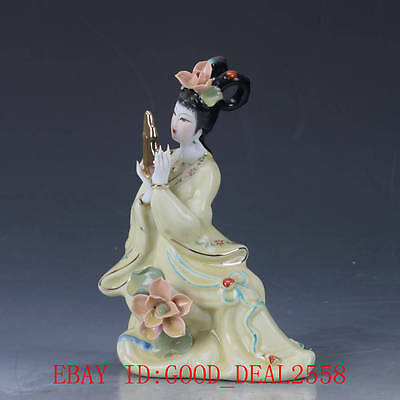 Chinese CERAMIC Handmade Carved beauty statue YELLOW COLORED