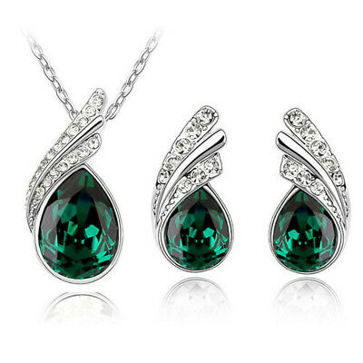 Cute Peacock Green Austrian Crystal  Angel tear Wings Pendant Necklace Earrings