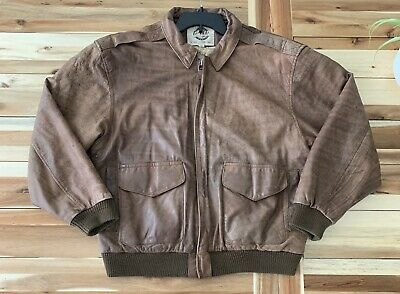 1b186e472 VINTAGE G-III Global Identity Leather Bomber Jacket Green Men's Size ...