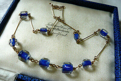 Vintage Jewellery Art Deco Blue Clear Glass Bead Necklace Lovely