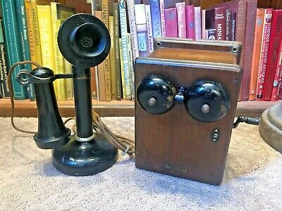 Antique Western Electric Candlestick Phone with Wood Box