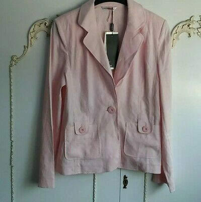 M&S Autograph  Marks & Spencer Baby Pink Linen Blend Summer Jacket size 12 BNWT
