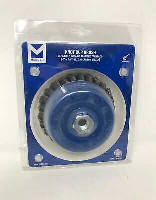 "Mercer Industries 189080 Knot Cup Brush, 5"""" x 5/8""""-11, For Angle Grinders"