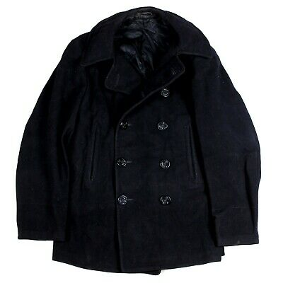 Ww2 Us Navy / Usn Dark Blue Wool Pea Coat Jacket 10 Button Double Breasted