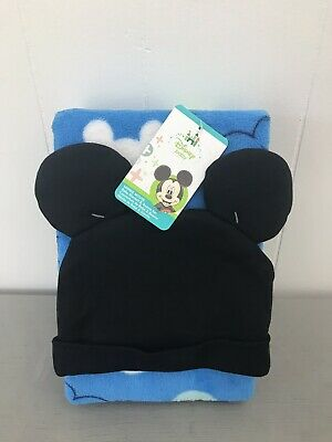 Disney Baby Mickey Minnie Mouse Blanket & Beanie Set Hat Baby Shower Gift Infant