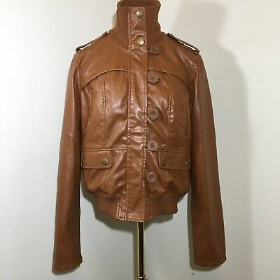 357e91363 WET SEAL BROWN Faux Leather Zipper Jacket Buttons Loops Womens Size Large L