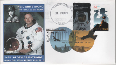 2019 MOON LANDING STAMP Neil Armstrong DUAL First Day Cover UO FDOI  FDC 19-13