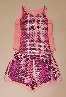 REEBOK 2pc Pink Purple Tank Shirt & Shorts Athletic Outfit, Girls XL - PreOwned