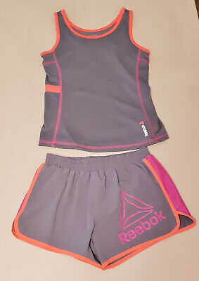 REEBOK 2pc Gray Tank Shirt & Shorts Athletic Outfit, Girls L and XL - PreOwned