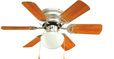 "Ceiling Fan 30"" Twister Sweep Air Light Pull Cord Brushed Chrome Brown Blades"