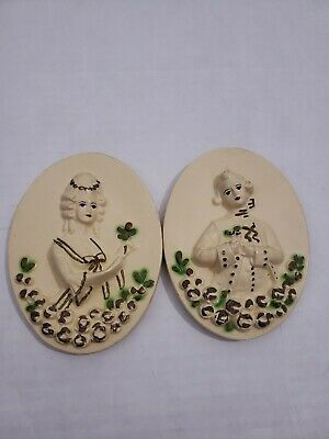 Vintage Antique Ceramic Painted Oval Wall Hangings woman & man 1700's hair
