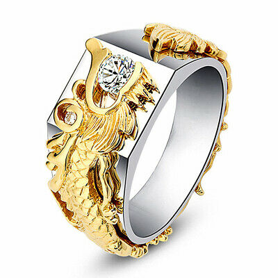 925 Silver White Topaz Dragon Band Man Ring Wedding Engagement Jewelry Size 6-10