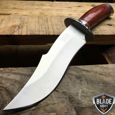 """10"""" STAINLESS STEEL WOOD HANDLE HUNTING KNIFE Survival Skinning Bowie -S"""
