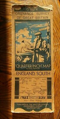 Vintage Ordnance Survey Quarter Inch Map 4th.Ed.1933 England, South. Sheet 11