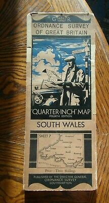 Vintage Ordnance Survey Quarter Inch Map 4th.Ed.1934 South Wales sheet 7