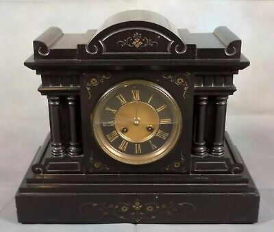 Antique French 8 Day Black Slate Marble Striking Mantel Clock Classical Engraved