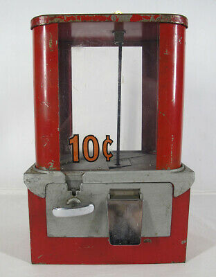 Vintage Wide 1950's Red Gumball Machine w/Keys - Works Shabby Chic Condition yqz