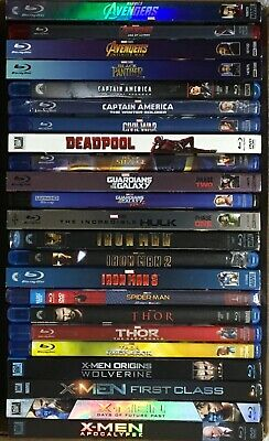 MARVEL Blu-ray Lot Avengers, Captain, Deadpool, Guardians, Iron Man, Thor, X-Men