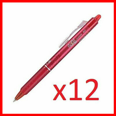 Pilot FriXion Ball Clicker 0.7 Retractable Erasable Ink Gel Pen,12ct Red