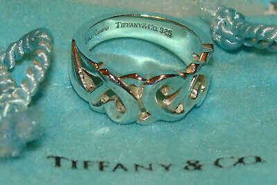 Auth Tiffany & Co. 925 Sterling Silver Paloma Picasso Loving Heart Band Ring US6