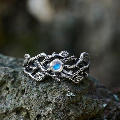 CO_ KF_ Vintage Hollow Branch Leaves Faux Moonstone Ring Women Charm Jewelry Rap