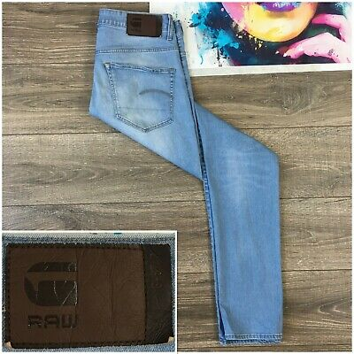 G-Star Raw Men's 3301 Deconstructed Slim Light Aged Blue Jeans Size 33x36