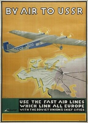 4 sizes matte+glossy avail By Air to USSR Early 20th century Air Travel Poster