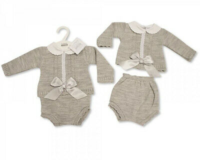 Baby Boys Girls Spanish Set Romany Grey Knitted Bow Jumper Jam Pants Outfit