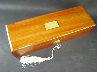 Antique Mahogany Pen & Pencil Box Working Lock & Key c1890 Brass Center Piece