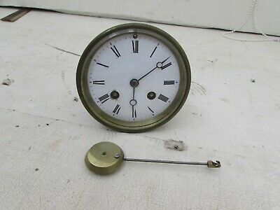 Antique Medaille De Bronze S Marti Mantel Clock Movement Bell Strike+Pendulum 4""