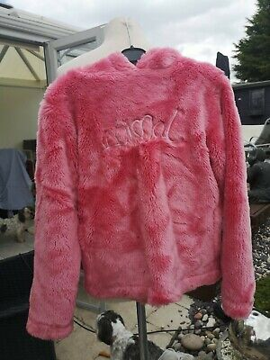 Girls pink ANIMAL surf  furry fluffy hooded top Kids Medium - Lovely Condition