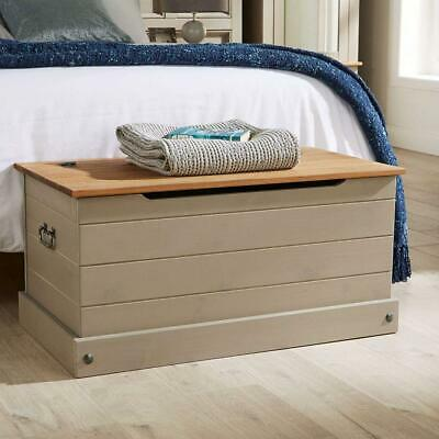 Solid Wood Ottoman Storage Chest Mexican Grey Toy Bedding