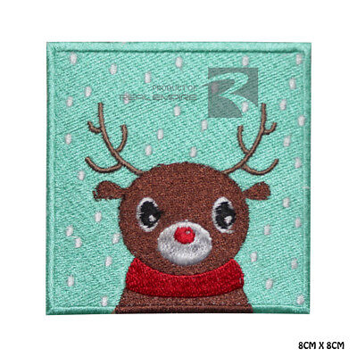 Christmas Deer Xmas Iron on Sew on Embroidered Patch Badge For Clothes etc