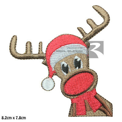 Ran Deer Christmas Xmas Iron on Sew on Embroidered Patch Badge For Clothes etc