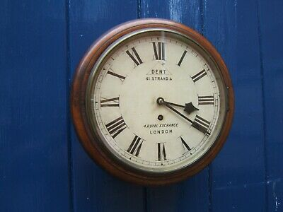 A Fusee wall mahogany wall clock 1880? makers E Dent & Co working nice condition