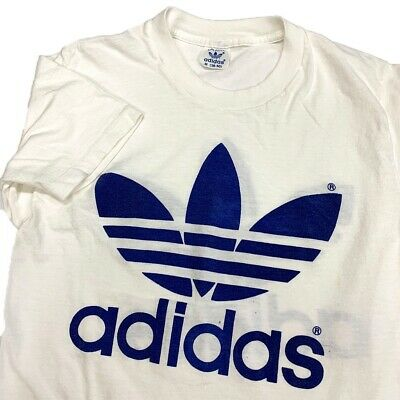 Vintage 1970s Adidas Trefoil T-Shirt White Double Sided Race Shirt Medium