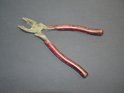 """Vintage M. Klein & Sons Lineman Pliers Cutter RUBY RED Handles 9-1/2"""" Chicago To"""