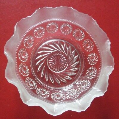 Small vintage glass DISH  . Patterned, clear and opaque (Crystal base)