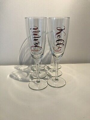 Personalised Champagne Flute, 5 Flute, Rose Gold Mirror Vinyl,  - MADE TO ORDER